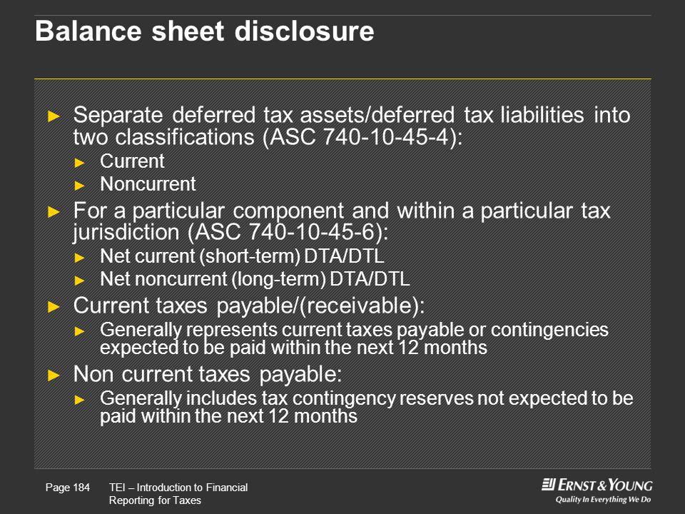 Balance sheet disclosure