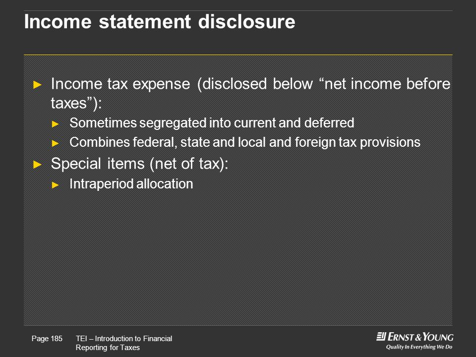 Income statement disclosure
