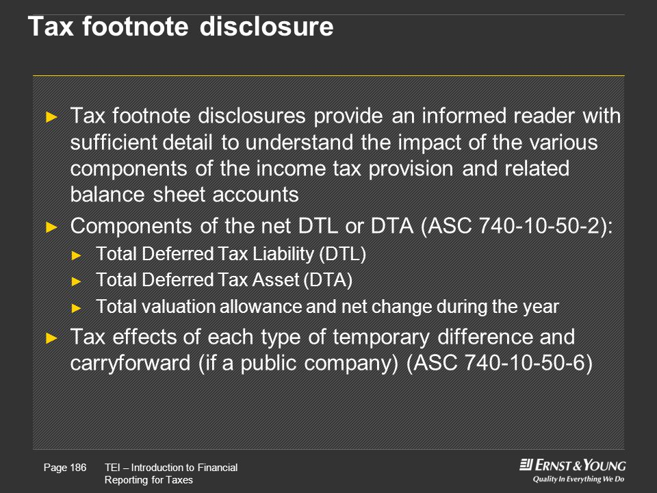 Tax footnote disclosure