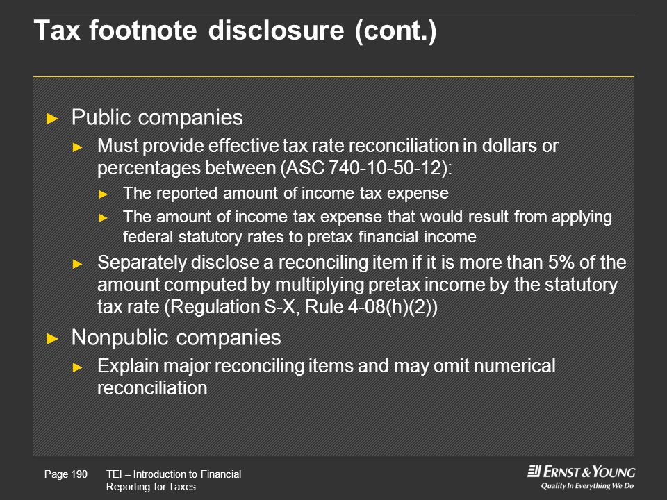 Tax footnote disclosure (cont.)