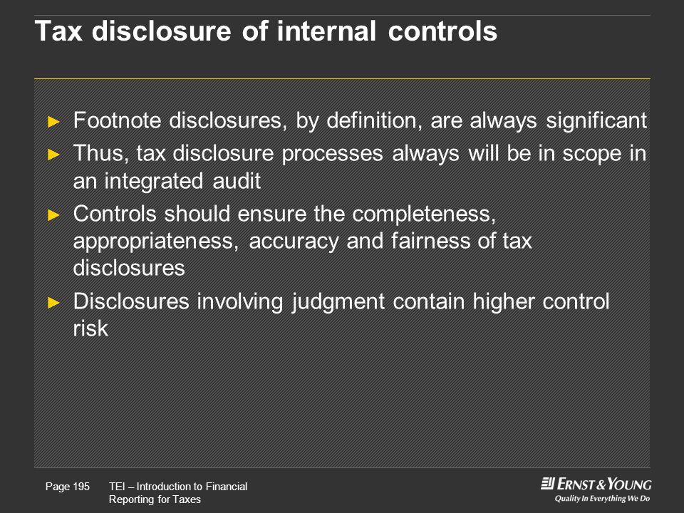 Tax disclosure of internal controls