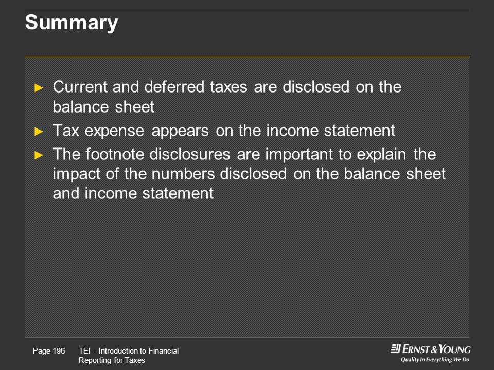 Summary Current and deferred taxes are disclosed on the balance sheet