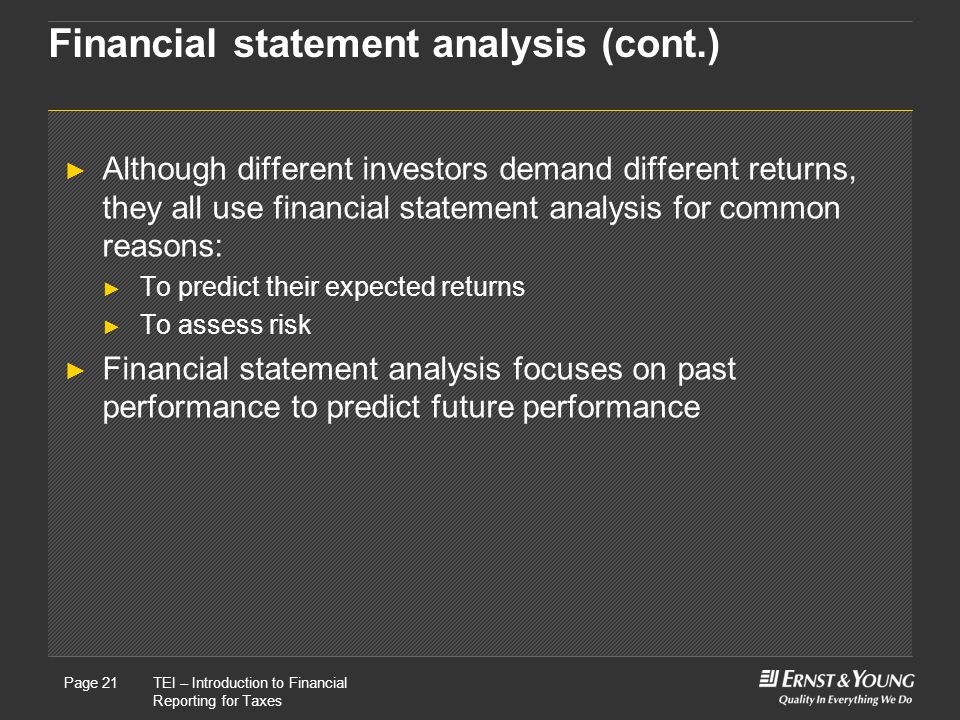 Financial statement analysis (cont.)