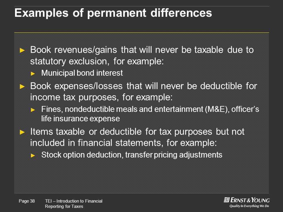 Examples of permanent differences