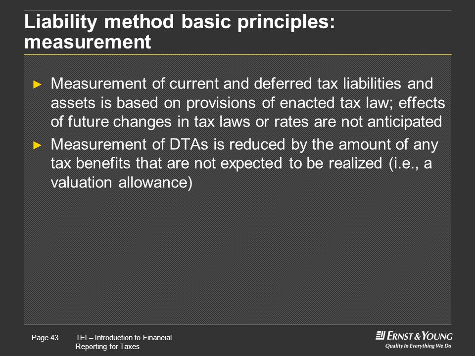 Liability method basic principles: measurement