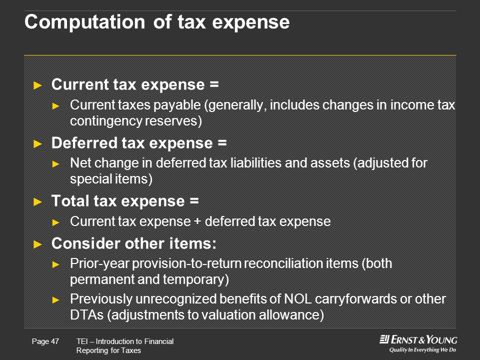 Computation of tax expense