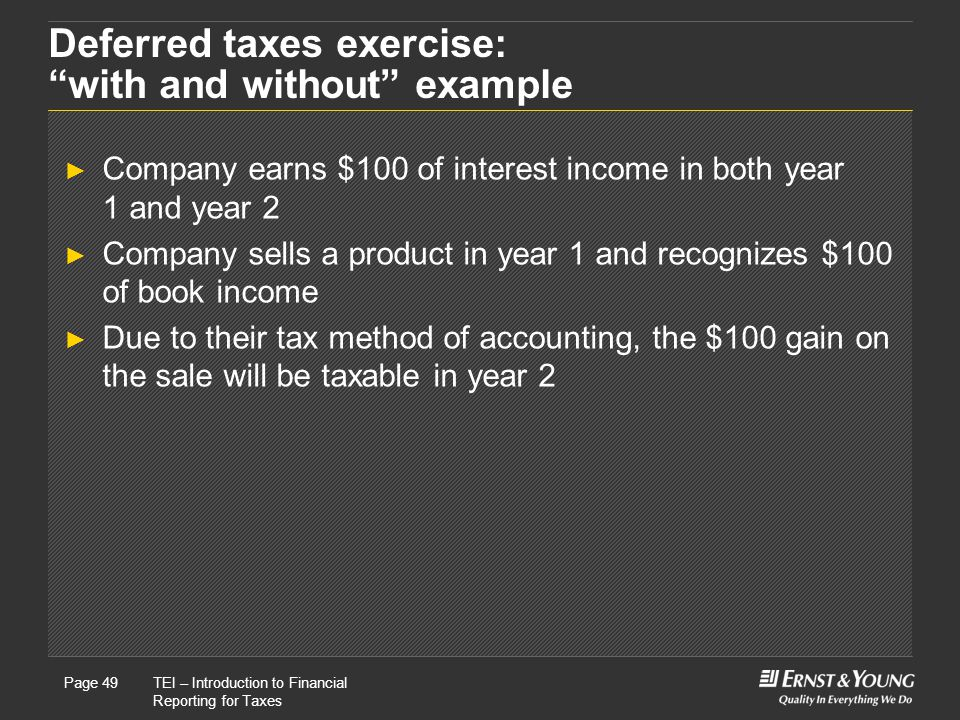 Deferred taxes exercise: with and without example