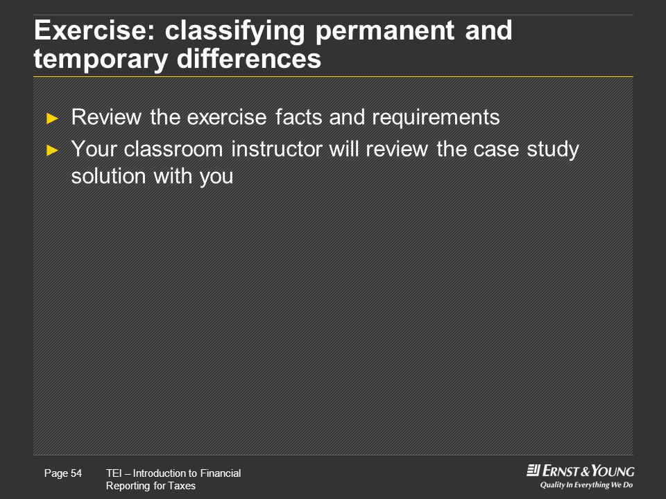 Exercise: classifying permanent and temporary differences