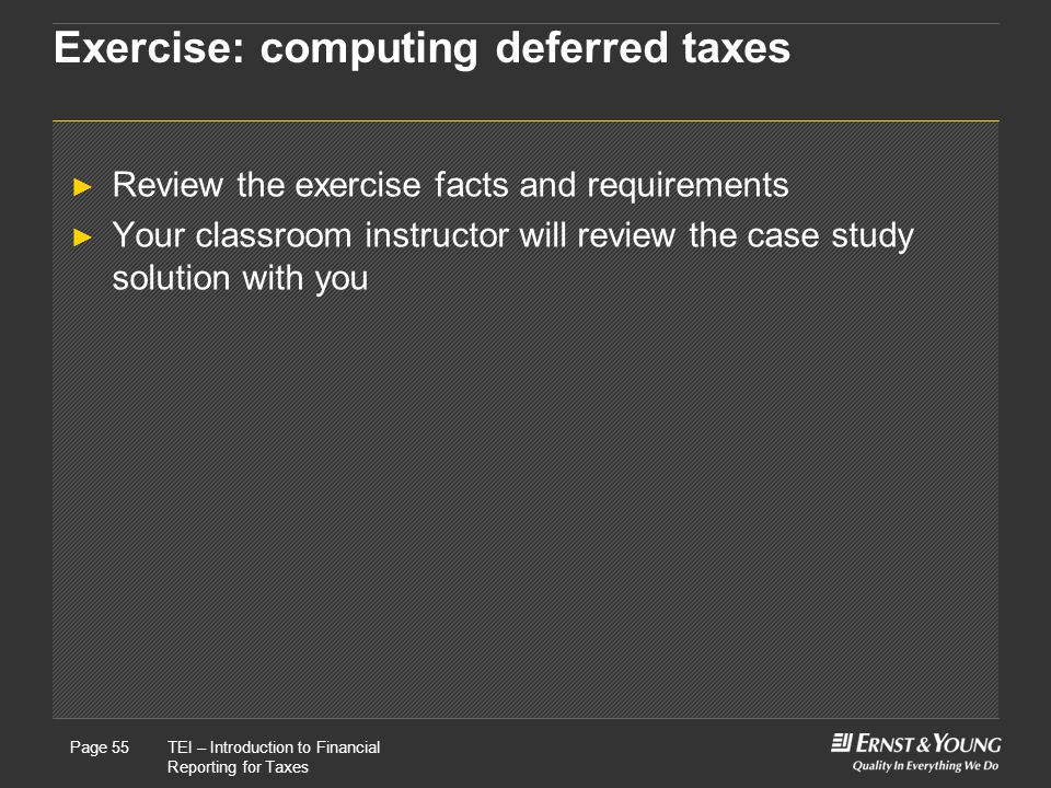 Exercise: computing deferred taxes