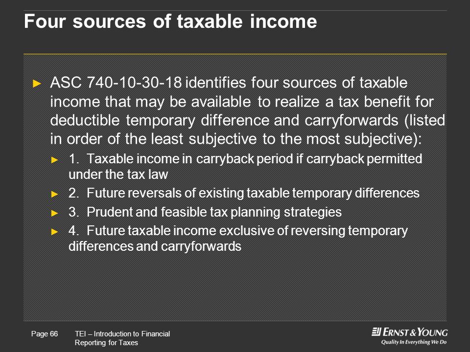 Four sources of taxable income