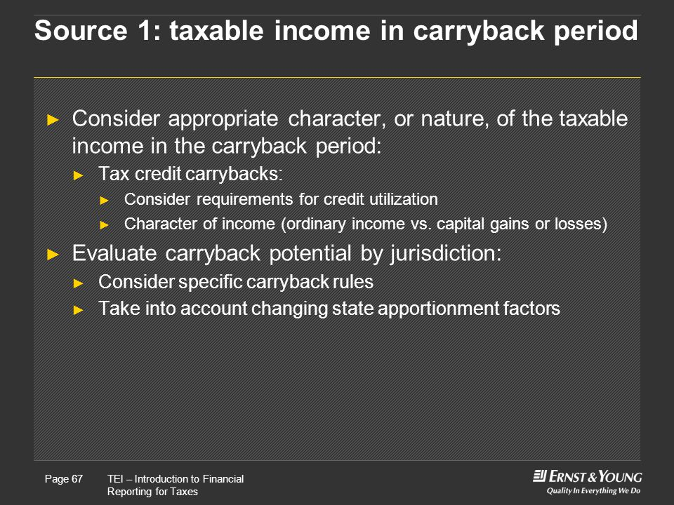 Source 1: taxable income in carryback period