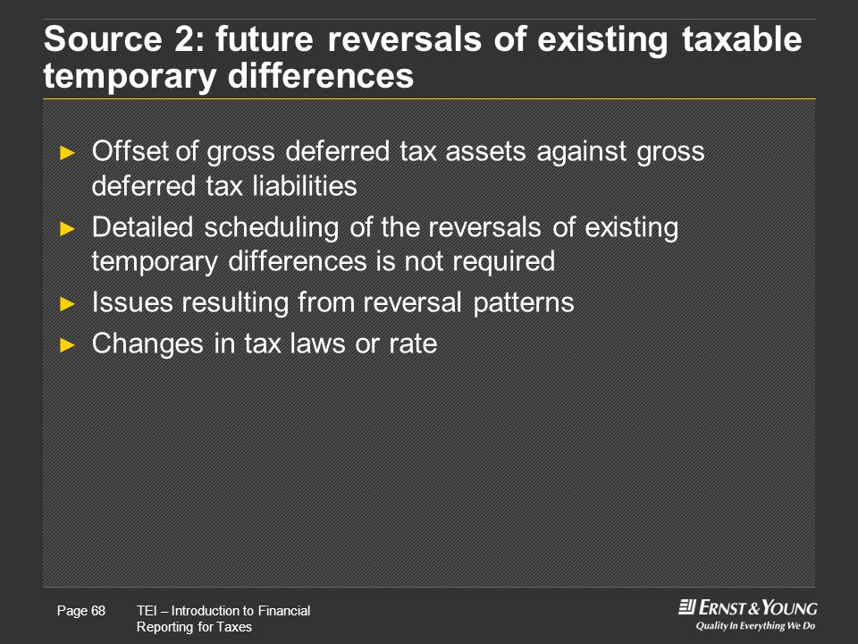 Source 2: future reversals of existing taxable temporary differences