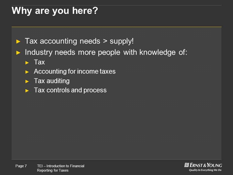 Why are you here Tax accounting needs > supply!