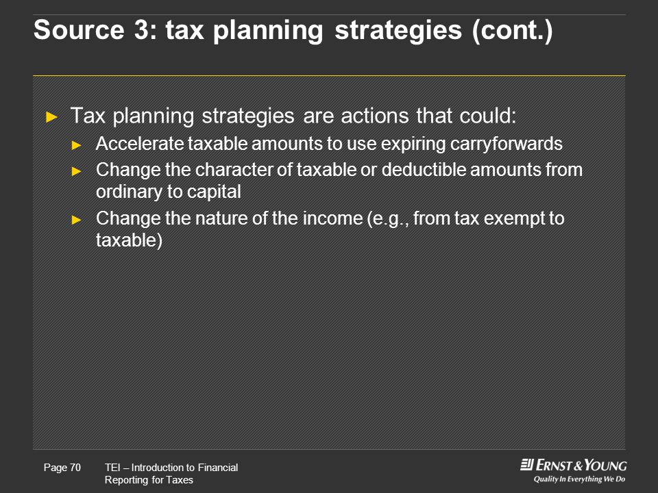 Source 3: tax planning strategies (cont.)