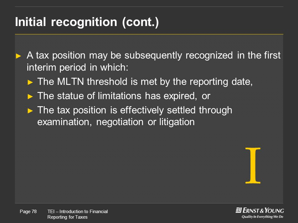Initial recognition (cont.)