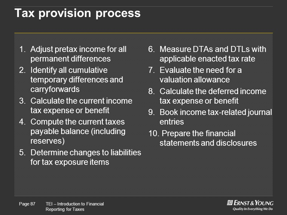 Tax provision process 1. Adjust pretax income for all permanent differences. 2. Identify all cumulative temporary differences and carryforwards.