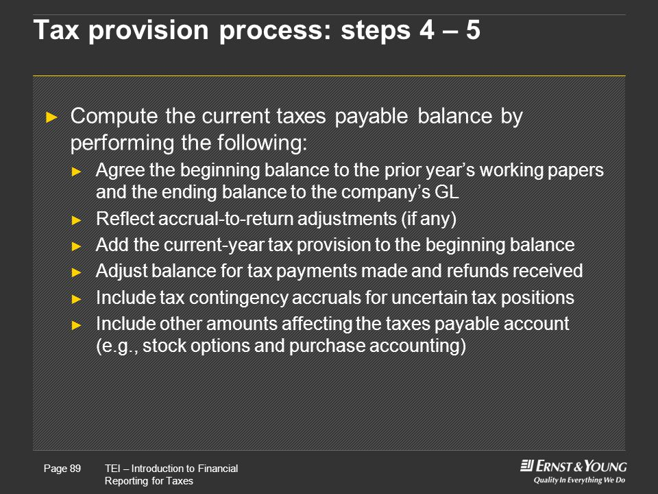 Tax provision process: steps 4 – 5