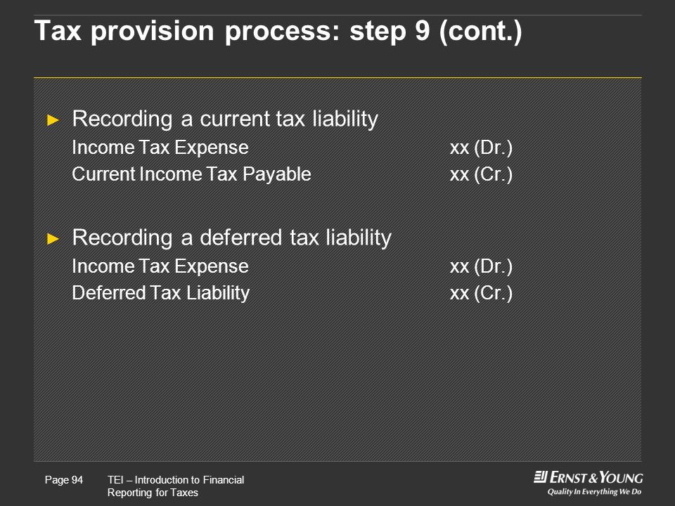 Tax provision process: step 9 (cont.)