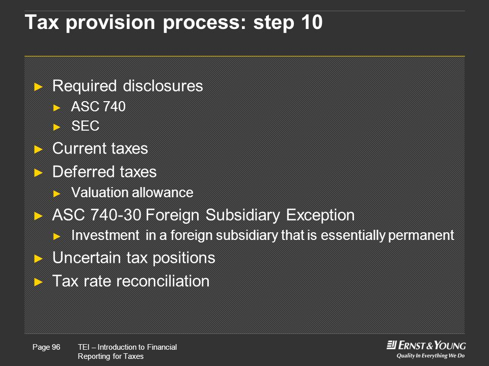 Tax provision process: step 10