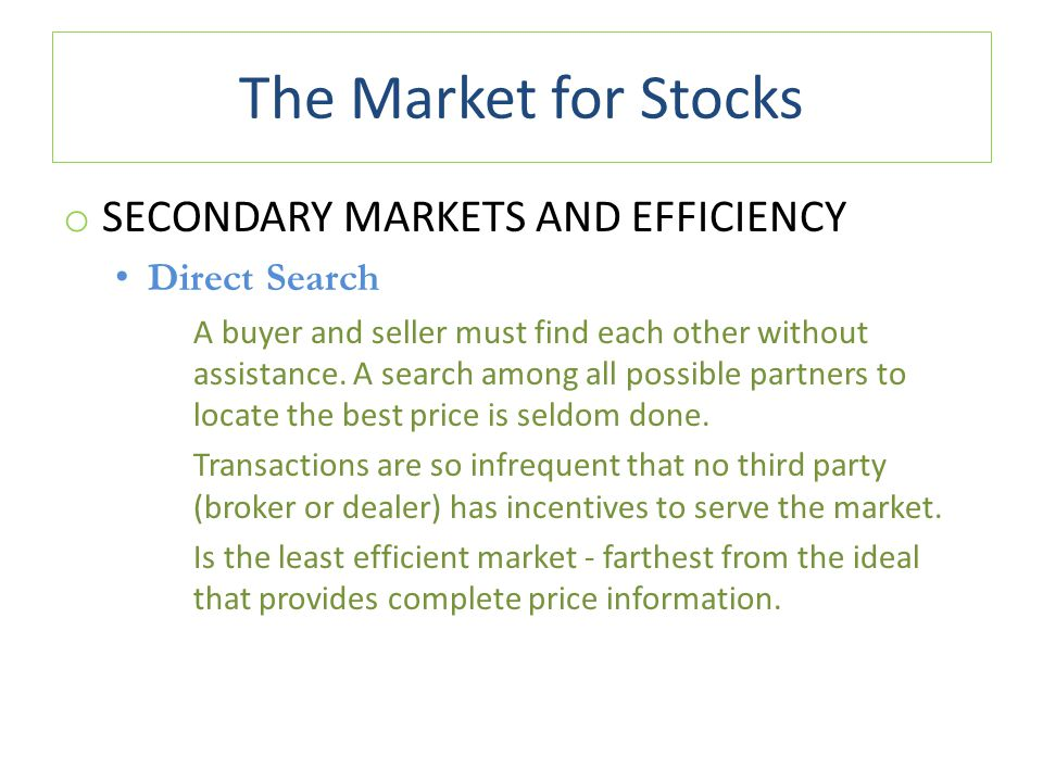 The Market for Stocks Secondary Markets and Efficiency Direct Search