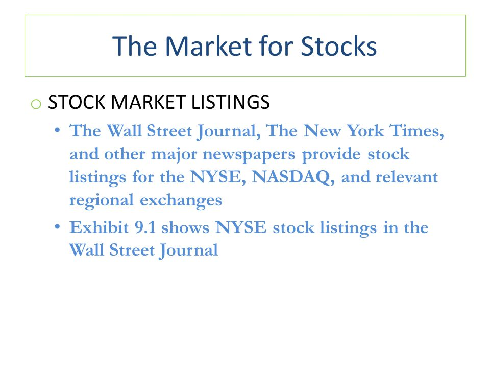 The Market for Stocks Stock Market Listings