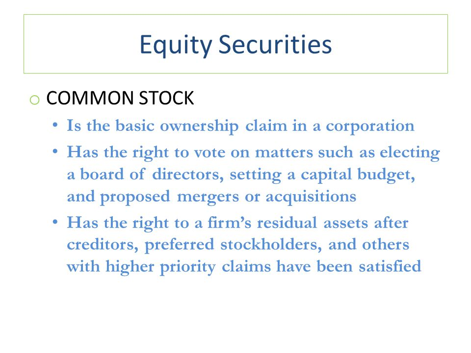 Equity Securities Common stock