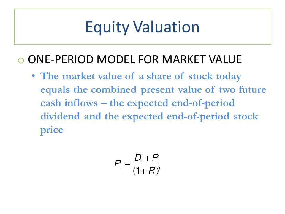 Equity Valuation One-Period Model for Market Value