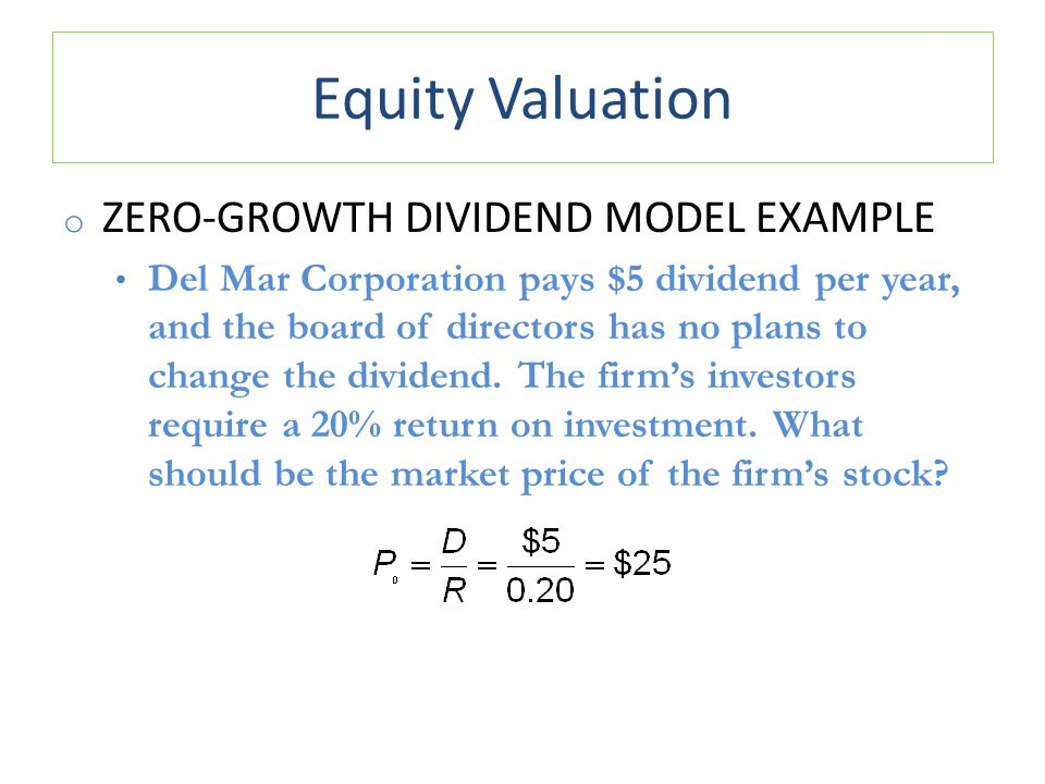 Equity Valuation Zero-Growth Dividend Model Example