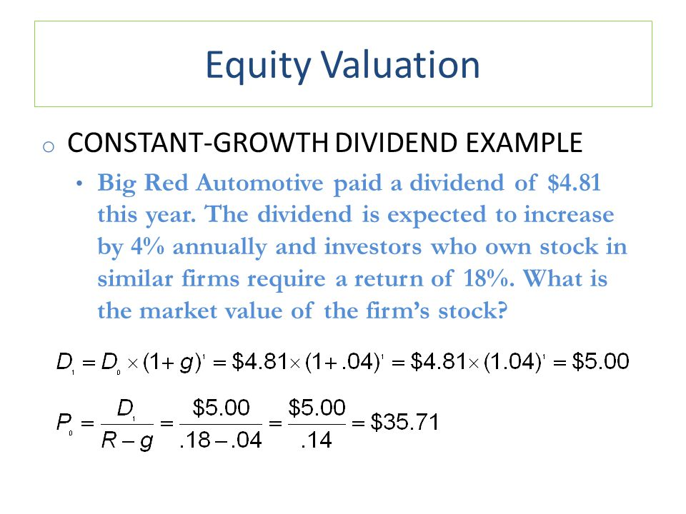 Equity Valuation Constant-Growth Dividend Example
