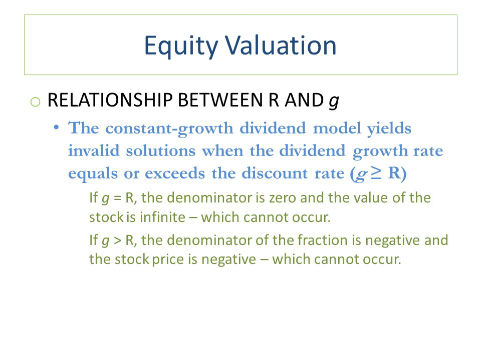 Equity Valuation Relationship between R and g