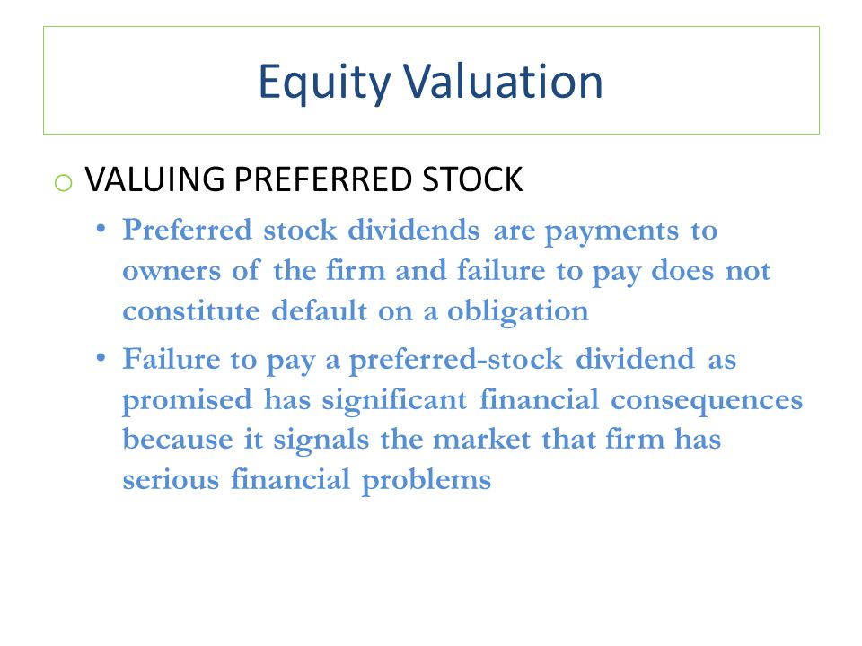 Equity Valuation Valuing Preferred Stock