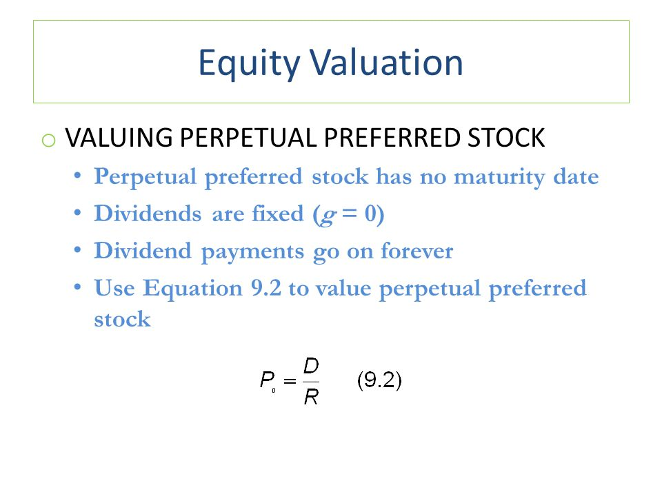 Equity Valuation Valuing Perpetual Preferred Stock