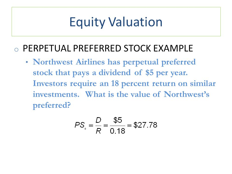 Equity Valuation Perpetual Preferred Stock Example