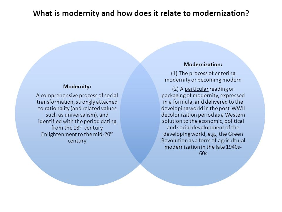 What is modernity and how does it relate to modernization