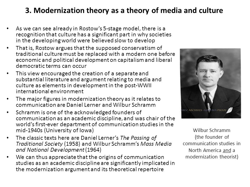 3. Modernization theory as a theory of media and culture