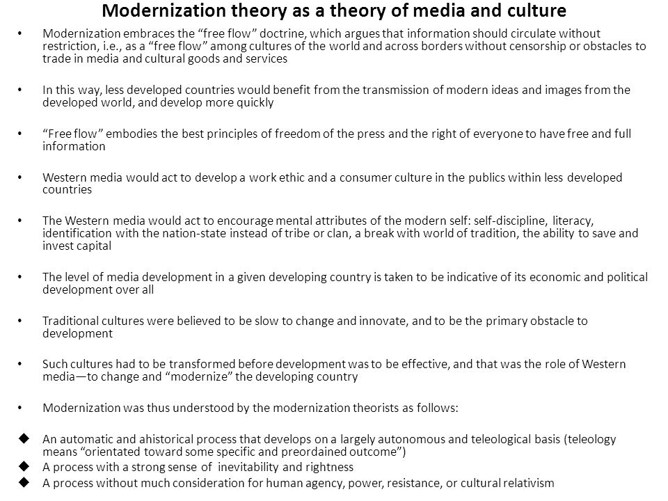 Modernization theory as a theory of media and culture