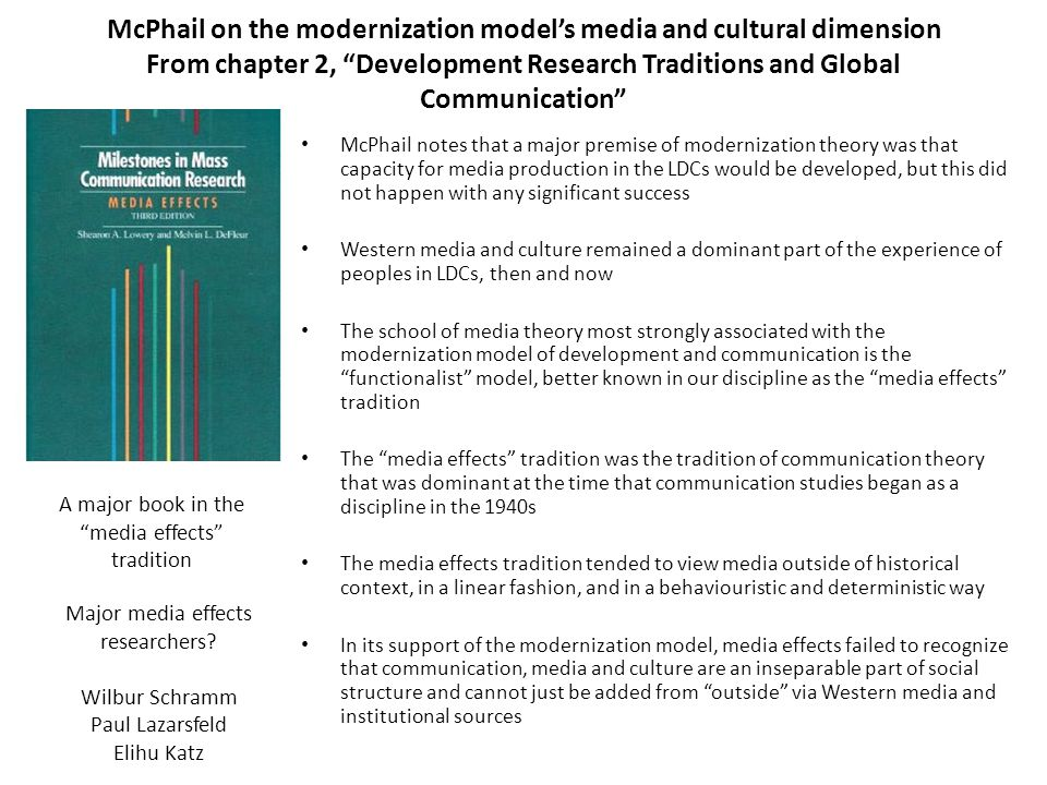 McPhail on the modernization model's media and cultural dimension From chapter 2, Development Research Traditions and Global Communication