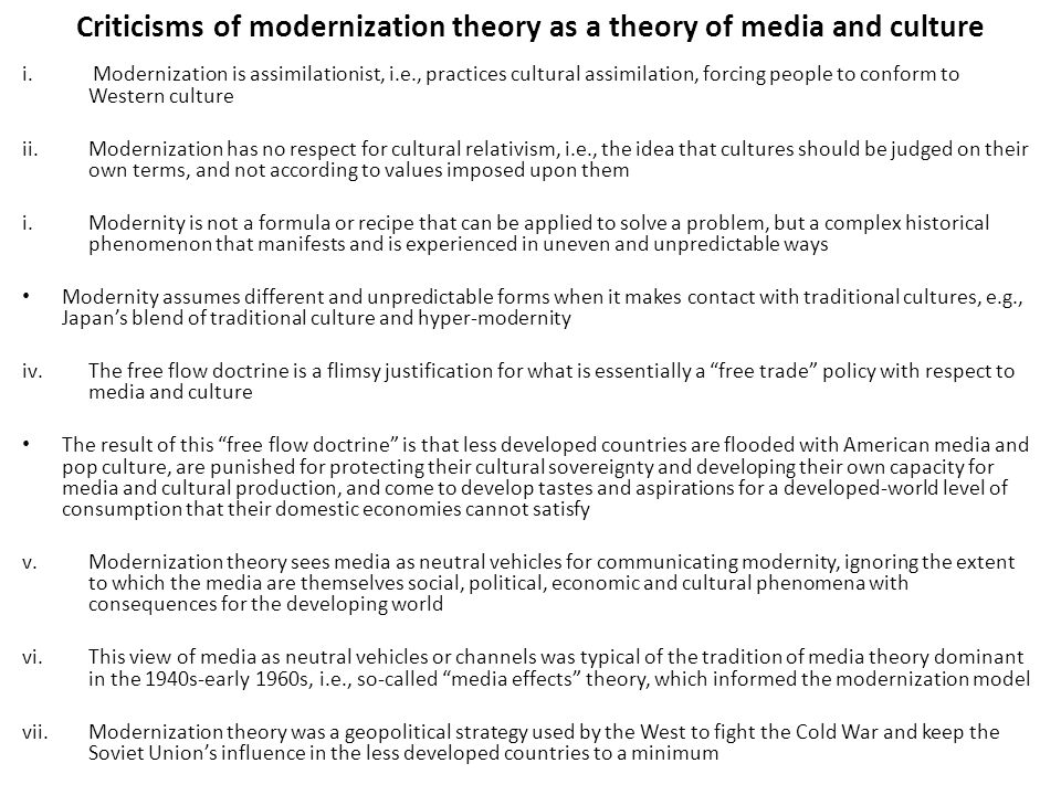 Criticisms of modernization theory as a theory of media and culture