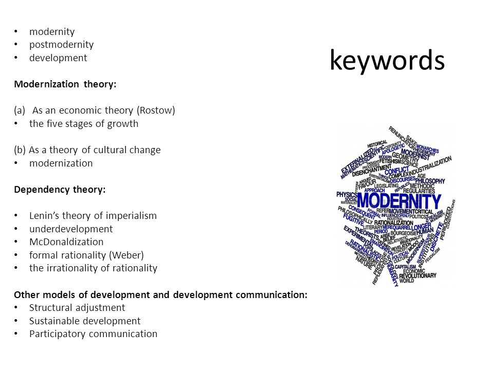 keywords modernity postmodernity development Modernization theory: