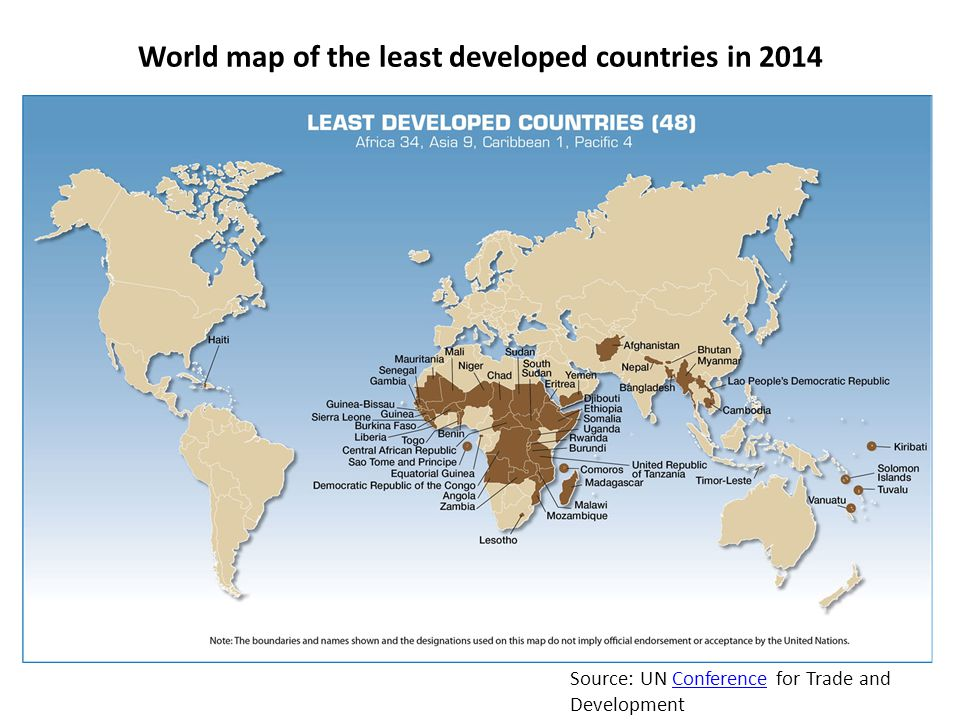 World map of the least developed countries in 2014