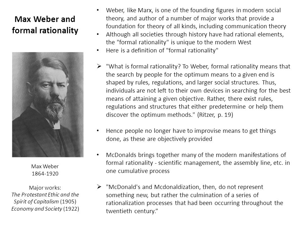 Max Weber and formal rationality