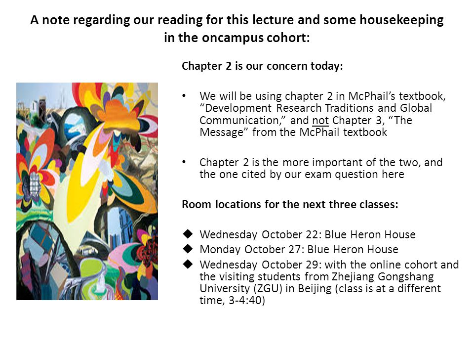 A note regarding our reading for this lecture and some housekeeping in the oncampus cohort: