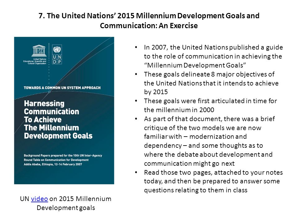 UN video on 2015 Millennium Development goals