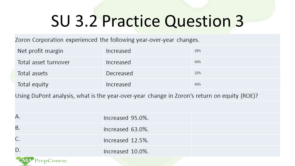 SU 3.2 Practice Question 3 Zoron Corporation experienced the following year-over-year changes. Net profit margin.