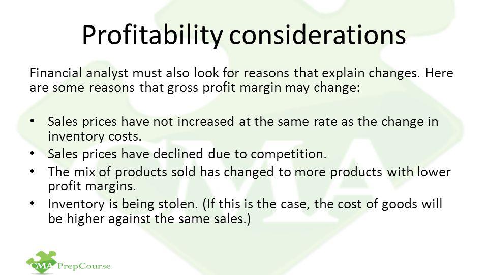 Profitability considerations