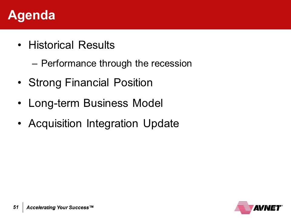 Agenda Historical Results Strong Financial Position
