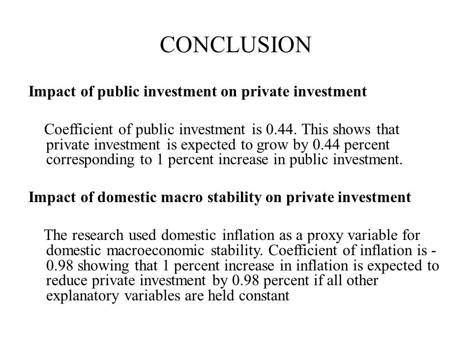 CONCLUSION Impact of public investment on private investment