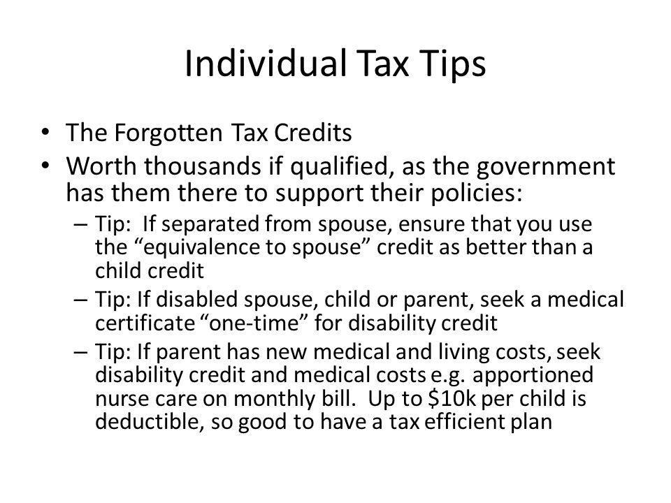 Individual Tax Tips The Forgotten Tax Credits