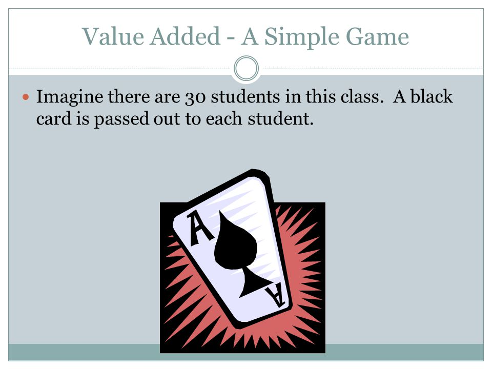 Value Added - A Simple Game