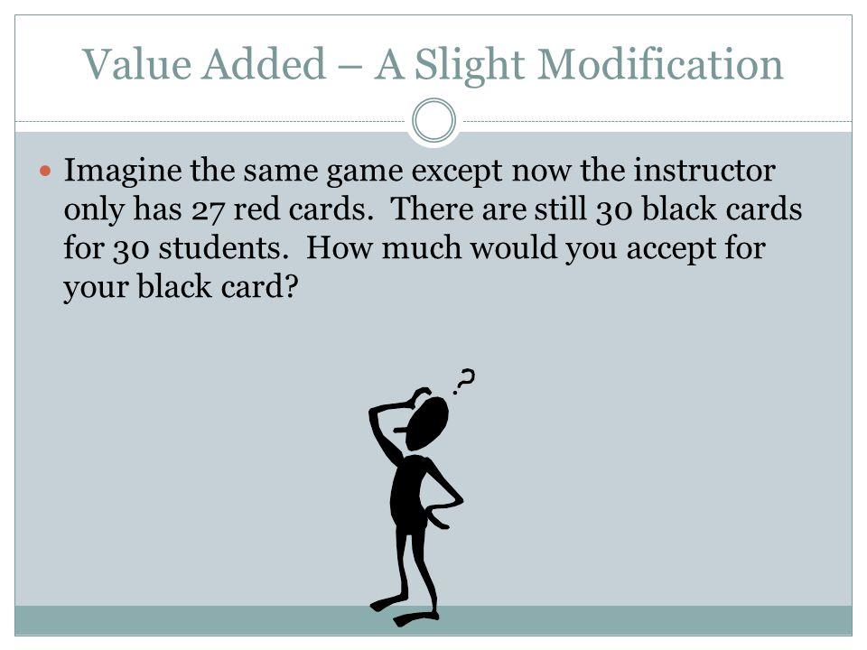 Value Added – A Slight Modification